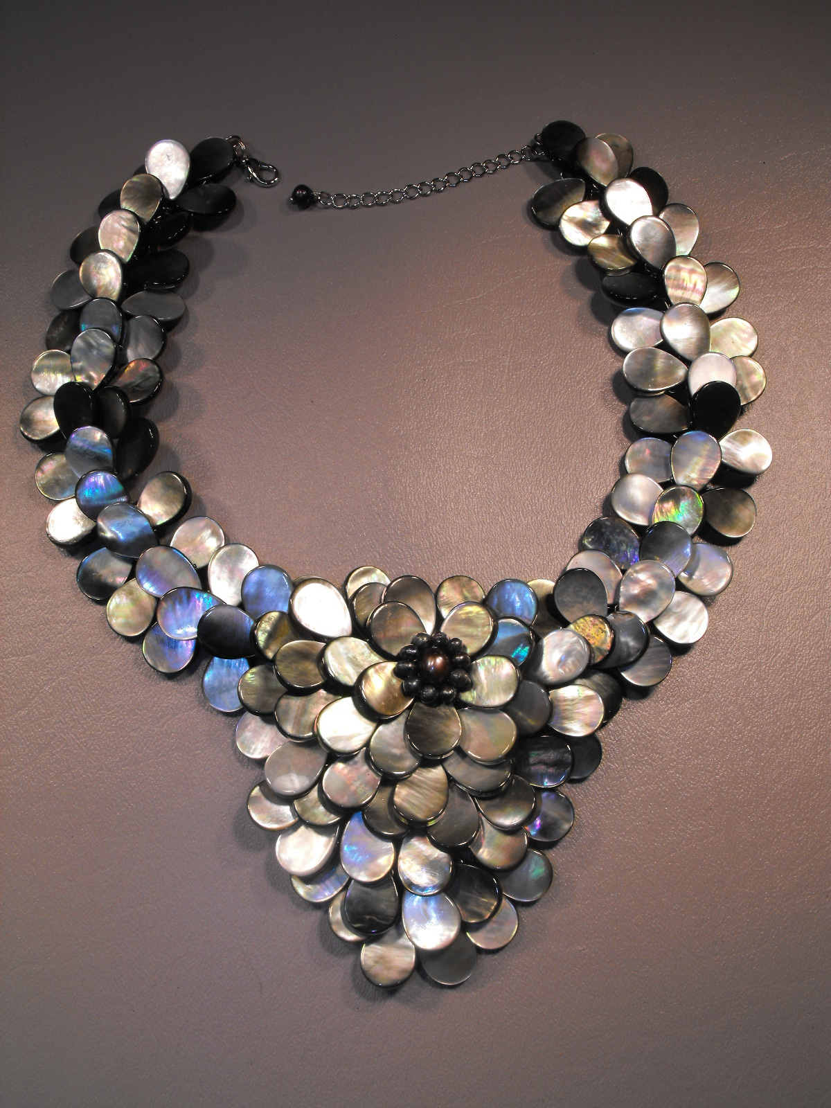 Grey Abalone Large Bib Necklace Clive S Unique Jewelry