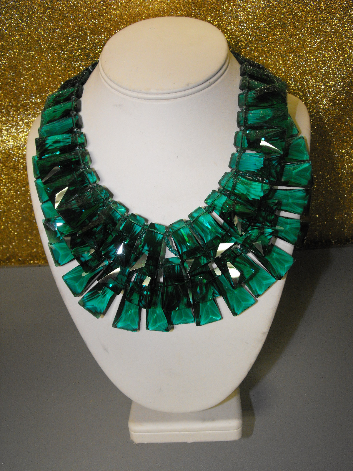 Emerald Green Faceted Crystal Layered Necklace Clive S