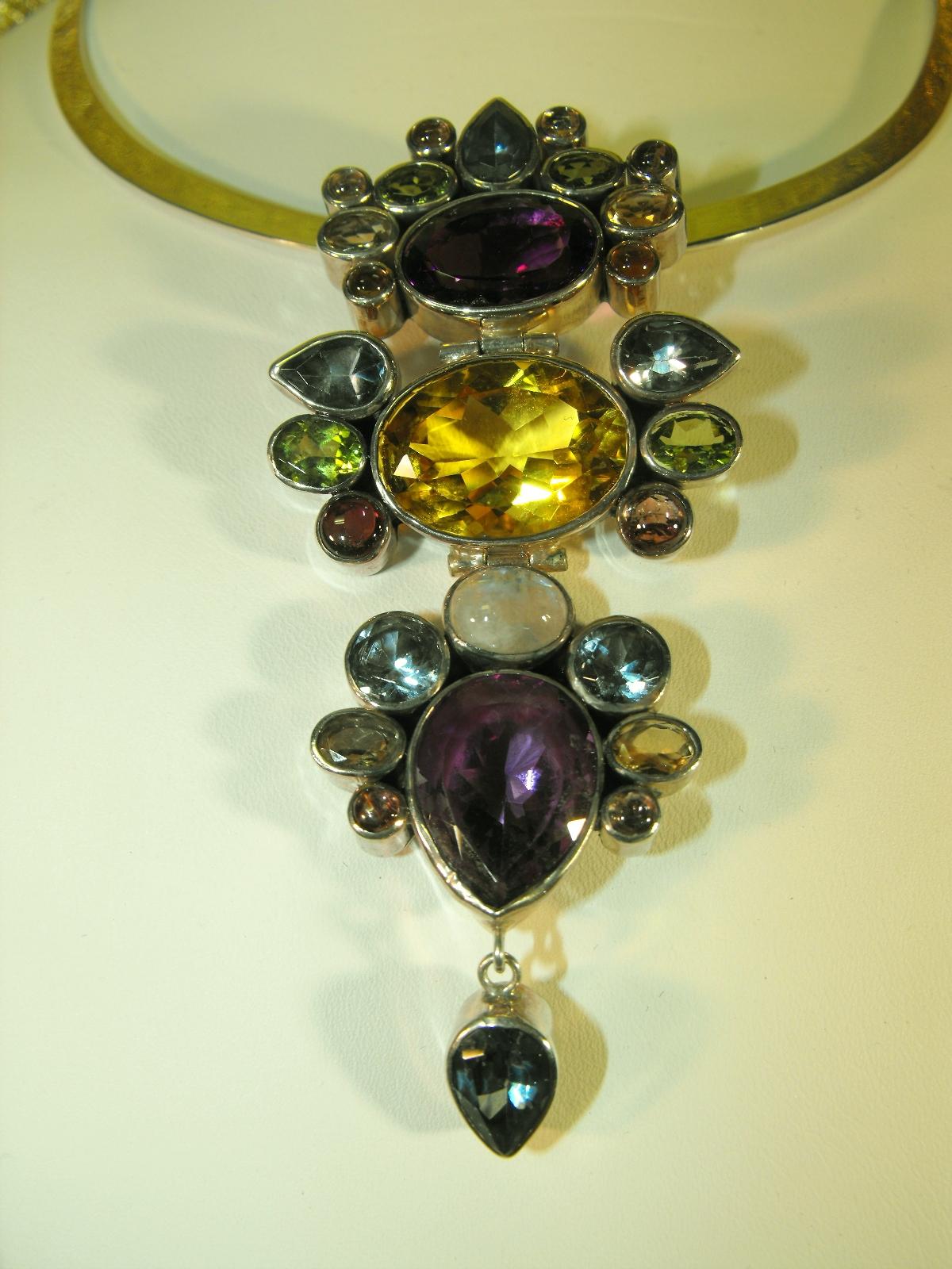 Sterling Silver Pendant W Gemstones Clive S Unique Jewelry