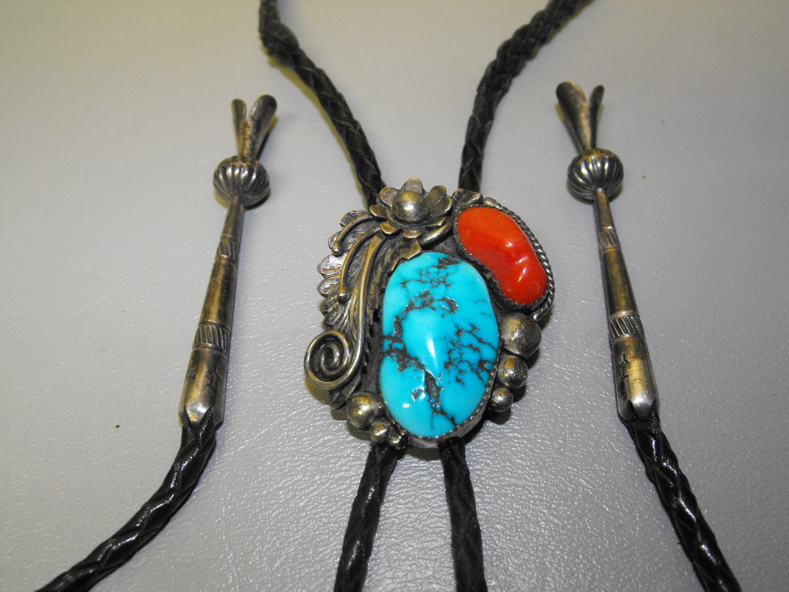 Turquoise Amp Coral Howard Nelson Signed Bolo Clive S