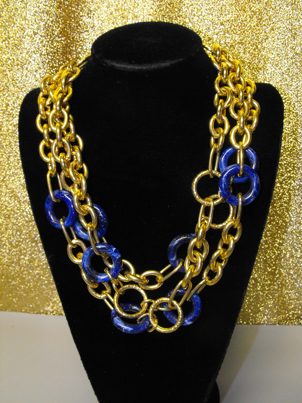 Triple Strand Chain Necklace With Blue Ring Accents
