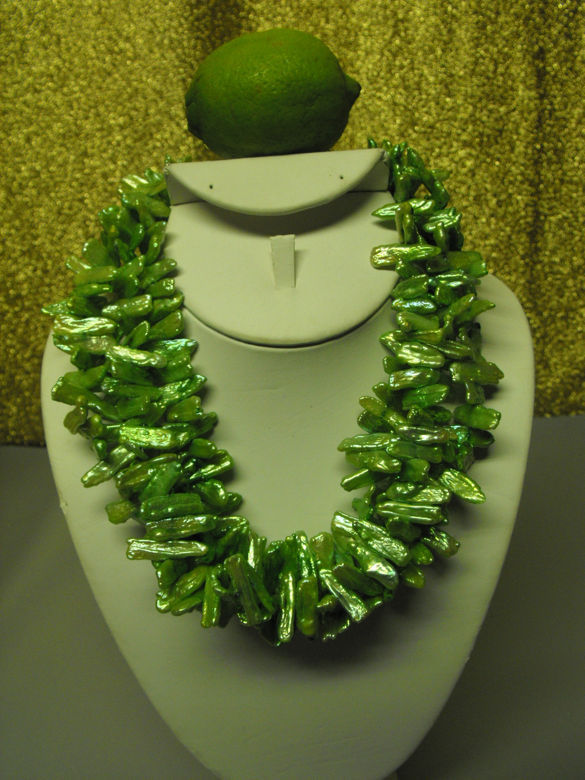 Freshwater Stick Pearls Triple Layer Necklace Lime Green