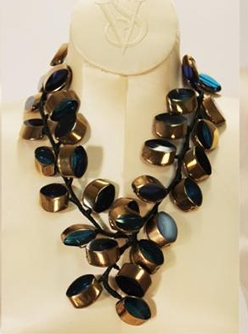 Vilaiwan Designer Ocean Blue Necklace W Vintage Glass