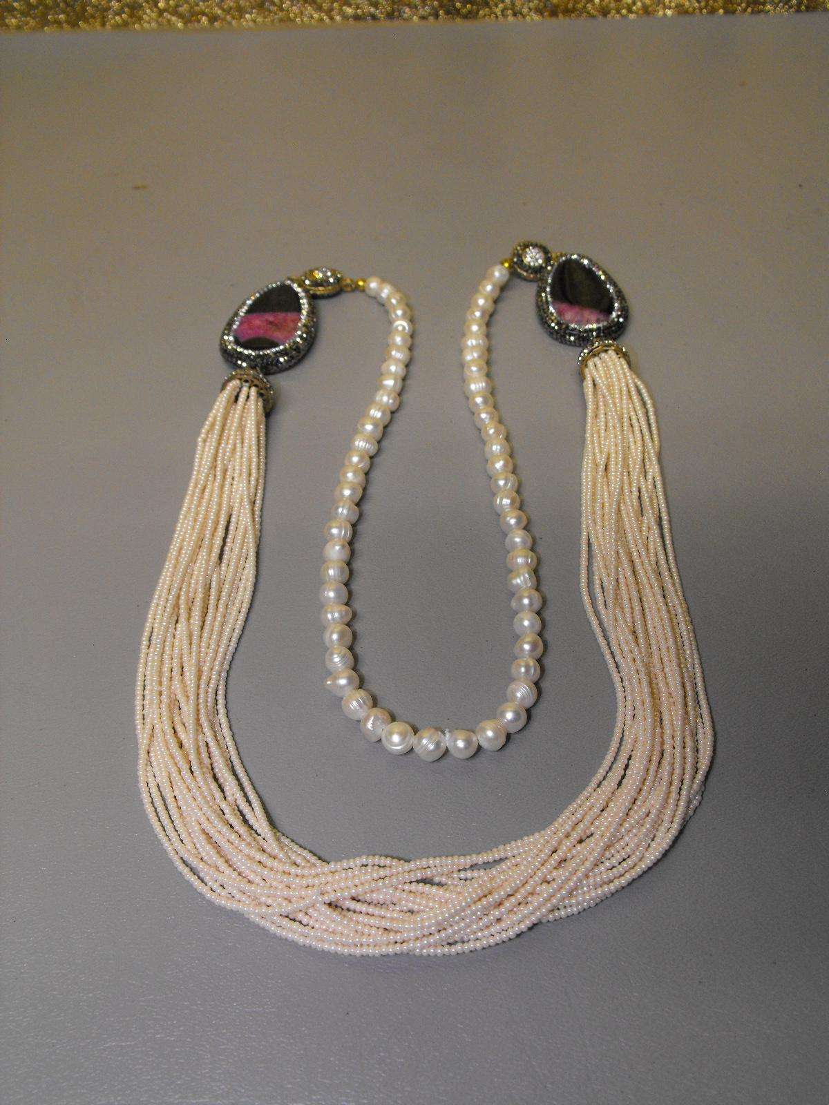 Sautoir Of Seed Pearls Freshwater Pearls Onyx Amp Amethyst