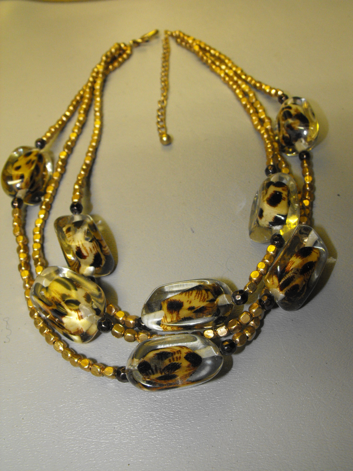 Chicos Fashion Necklace Acrylic Leopard Design Clive S