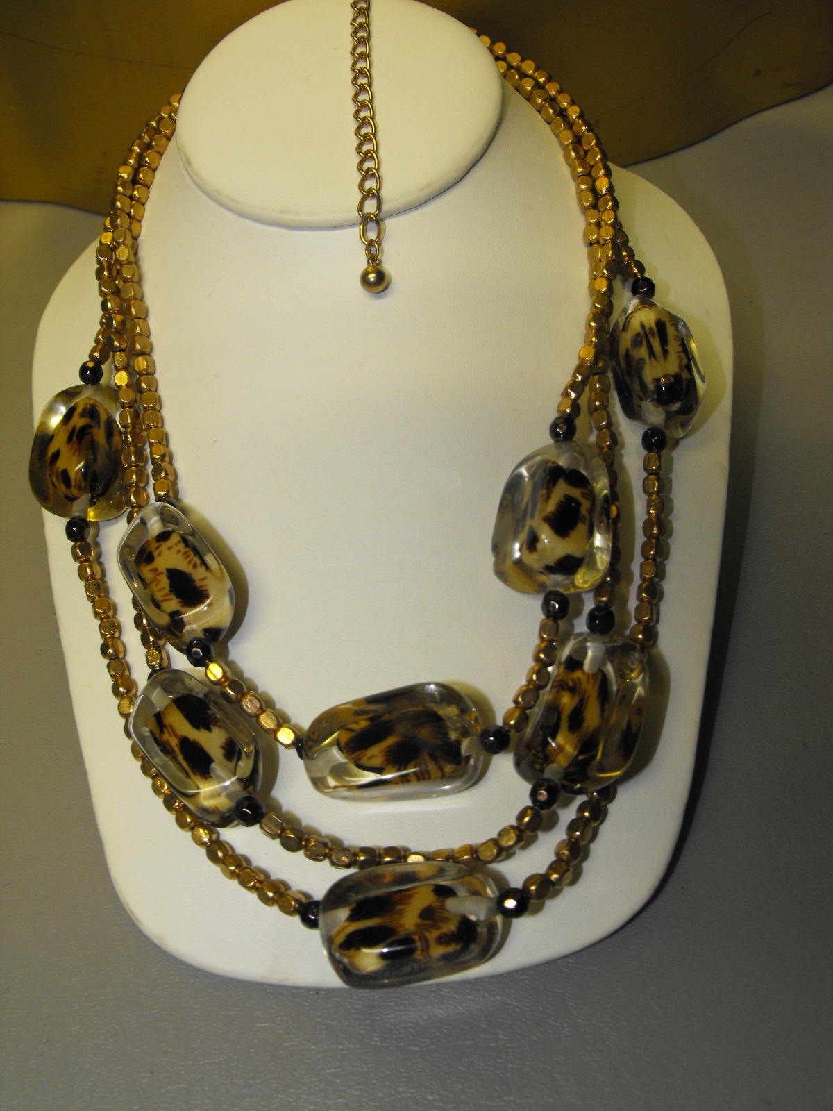 Chicos Fashion Necklace- Acrylic/Leopard Design.